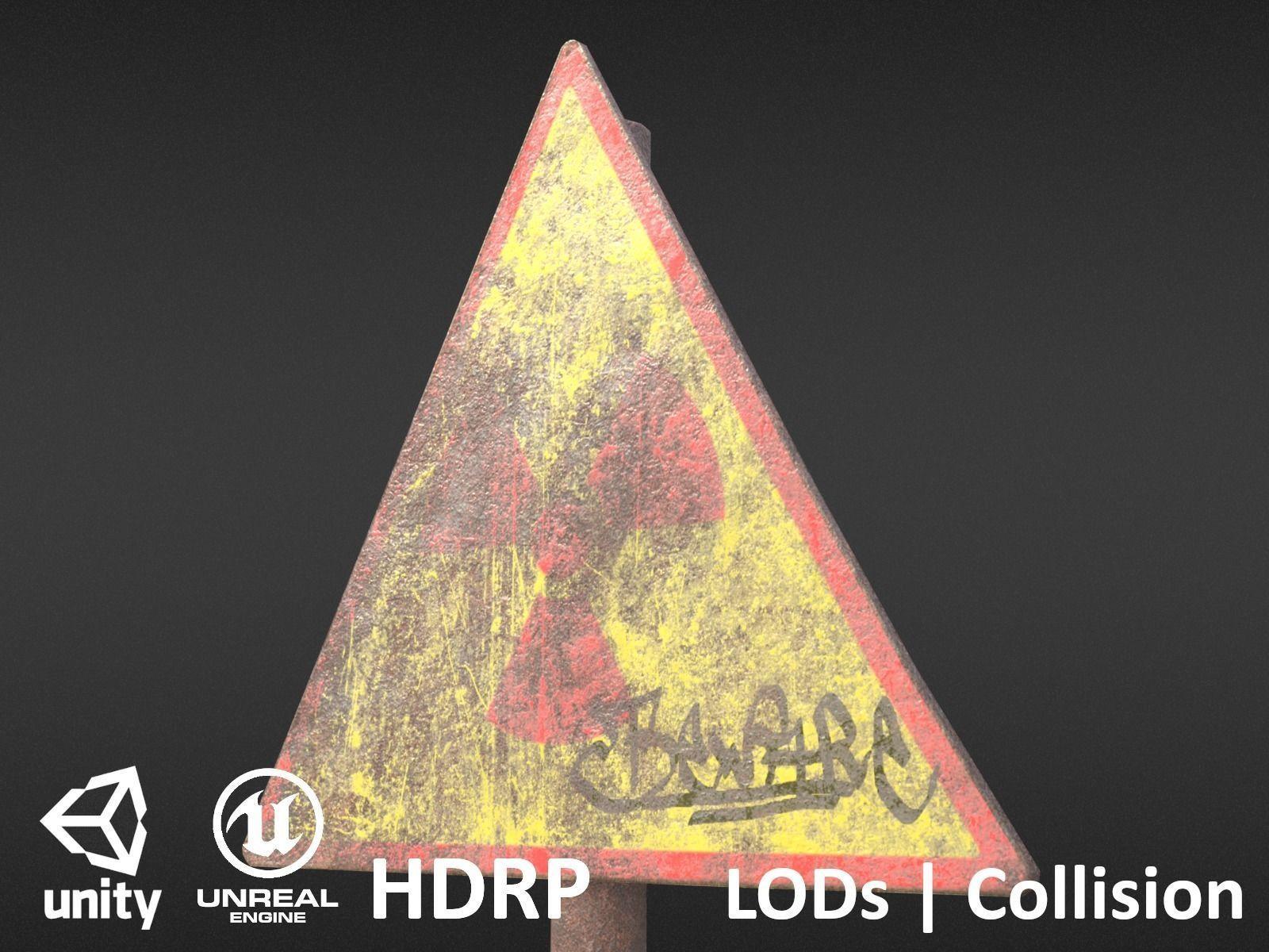 Game-ready Radioactivity sign rusty - Unity - HDRP - UE4