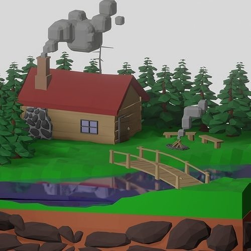 low poly isometric forrest hut