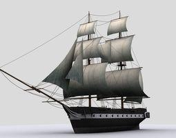 3d model low-poly sailboat  brig