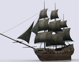 Old sailing warship 3D model