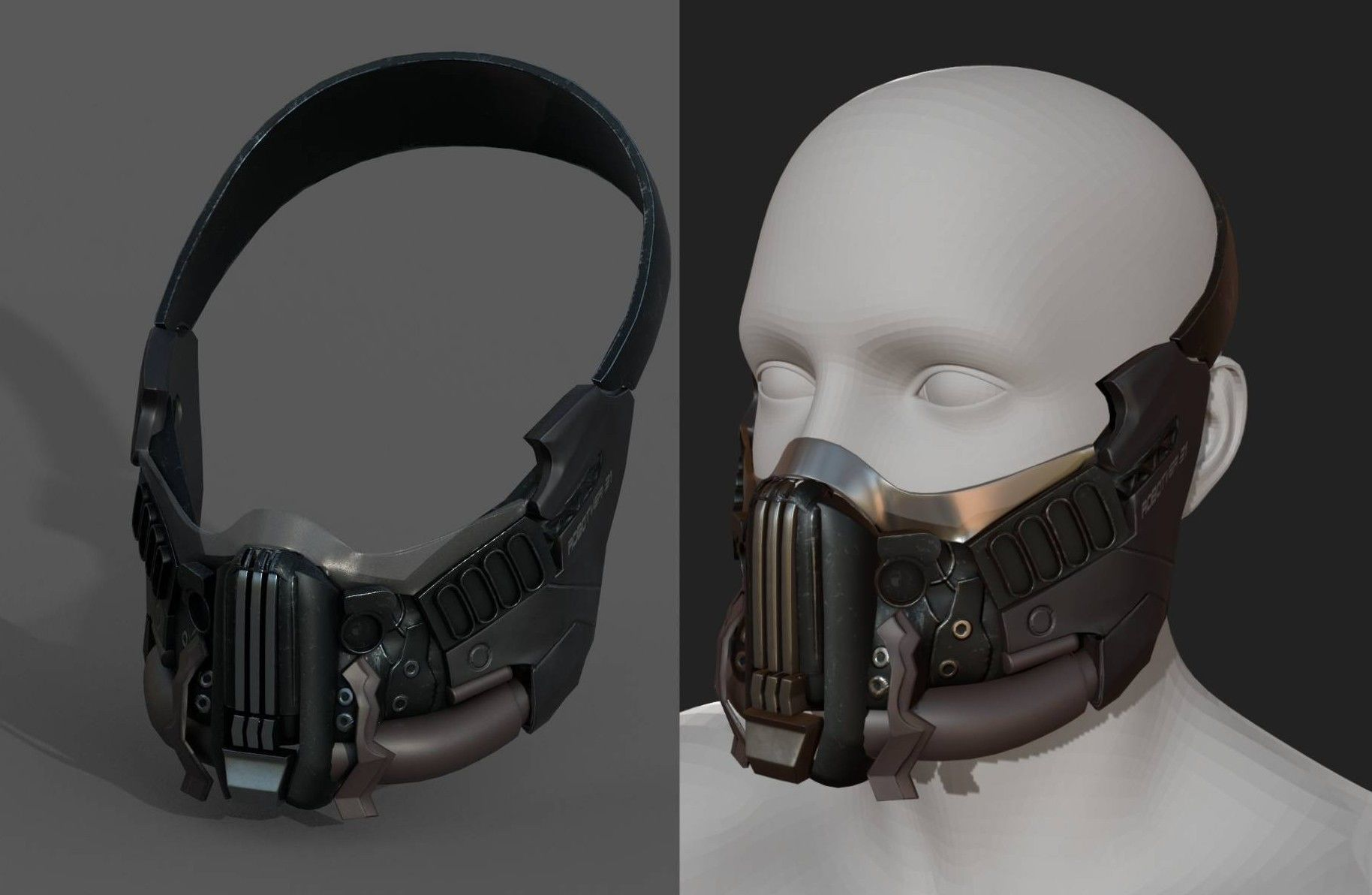 Helmet gas mask scifi military combat armor