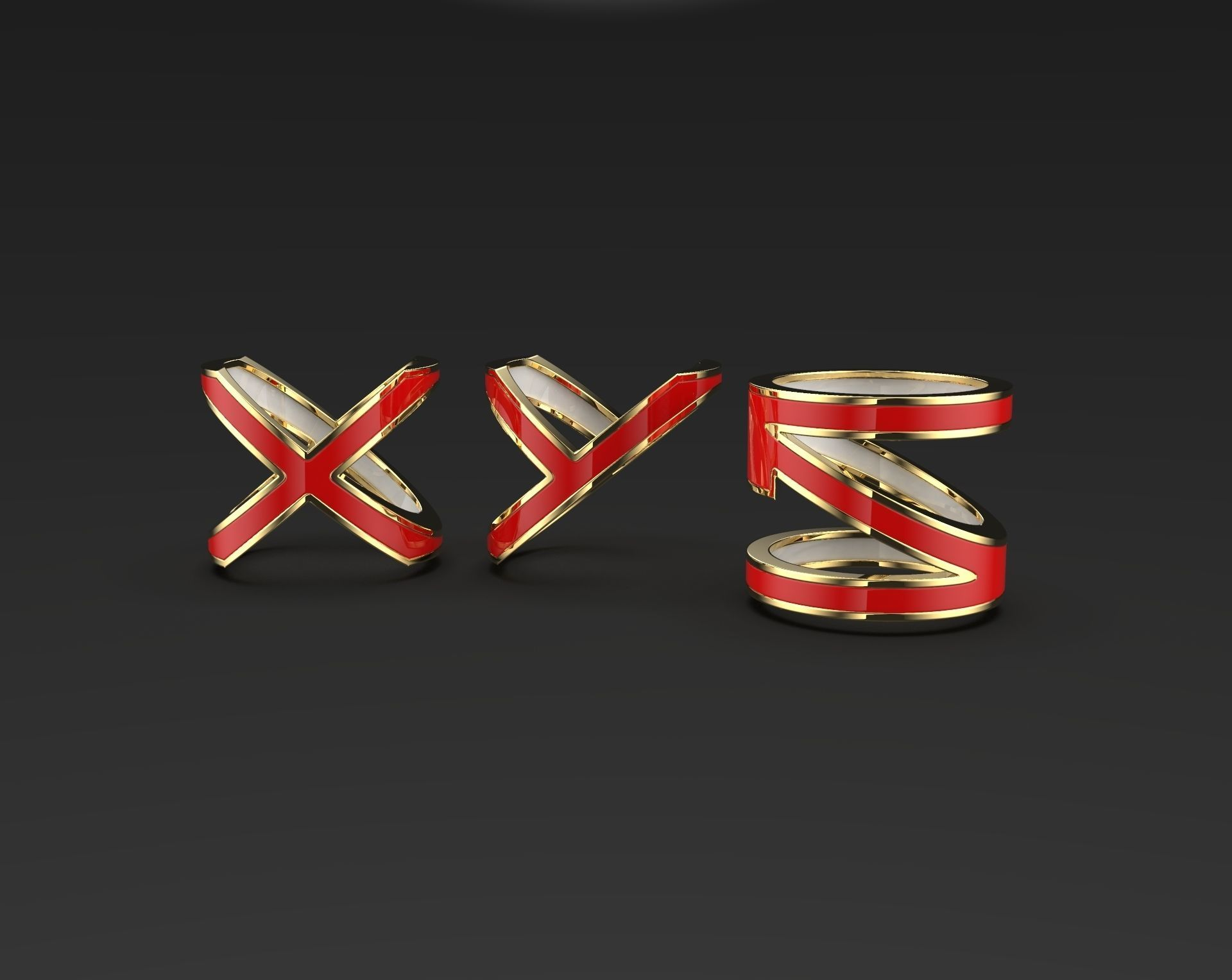 Abstract XYN or XYZ letters enameled rings