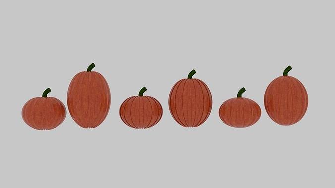 pumpkin pack 3d model low-poly obj 3ds fbx blend dae mtl 1