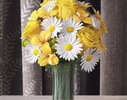 flowers in vase 3 3d model