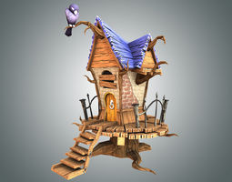low-poly 3d model low poly creepy house