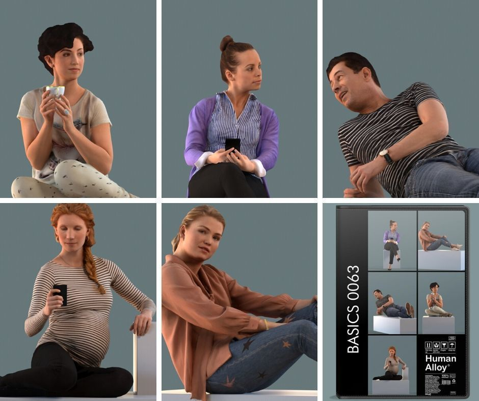Set of 3D people sitting in sofa poses
