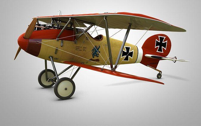 fighter aircraft albatros 3d model max obj fbx stl 1