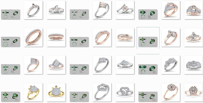 38 Light wt women ring 3dm stl render details bulk collection