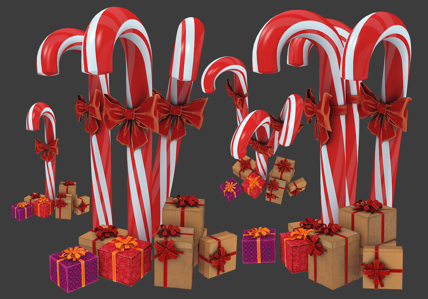Christmas candy cane with gifts