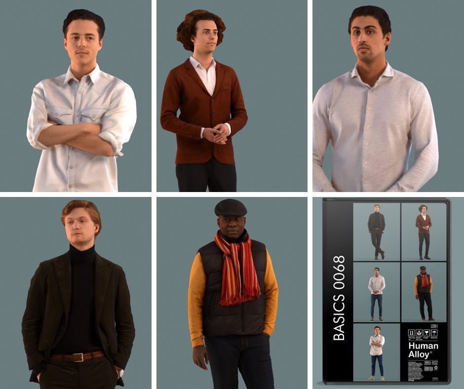 Set of 3D men standing in various poses