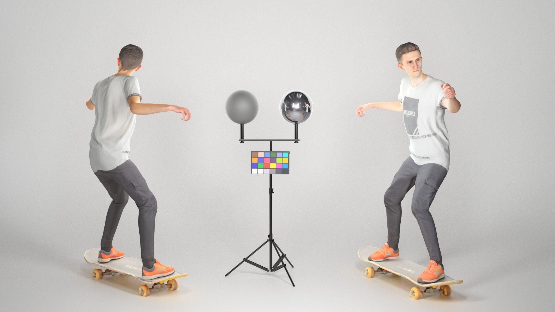 Animated man riding on a skateboard 35