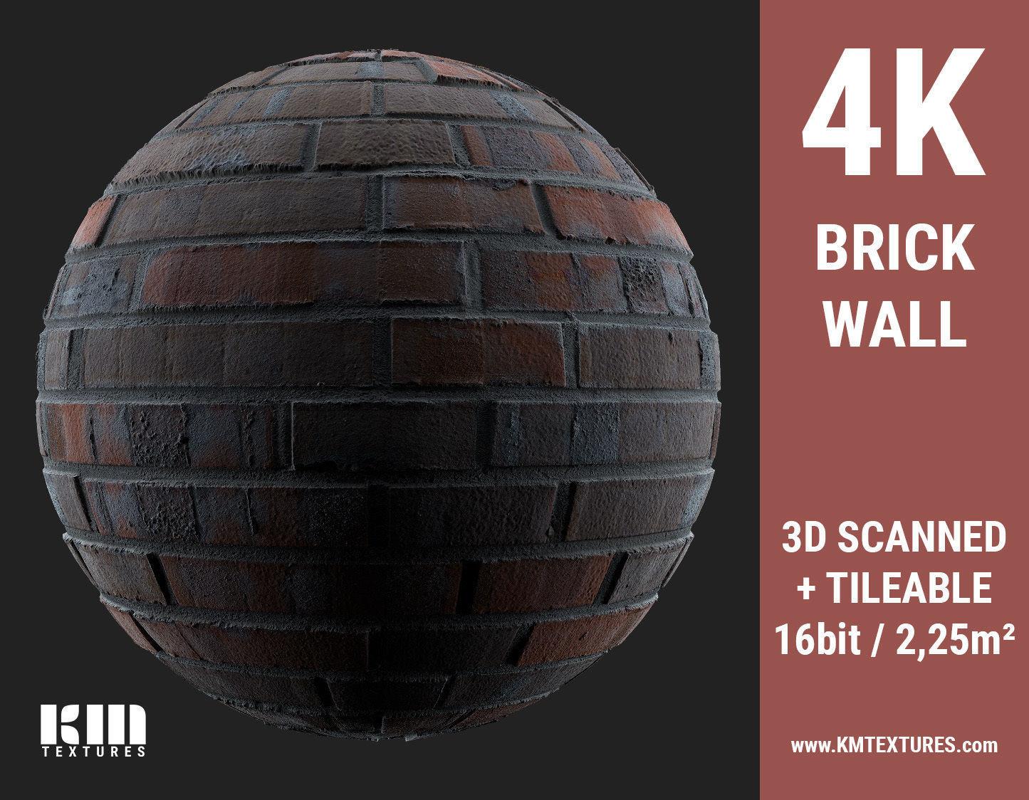 3D Scanned 4K Brick Wall