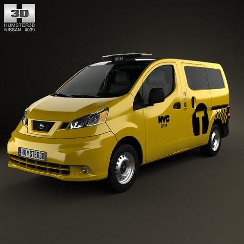3d model nissan nv200 new york taxi 2014 cgtrader. Black Bedroom Furniture Sets. Home Design Ideas