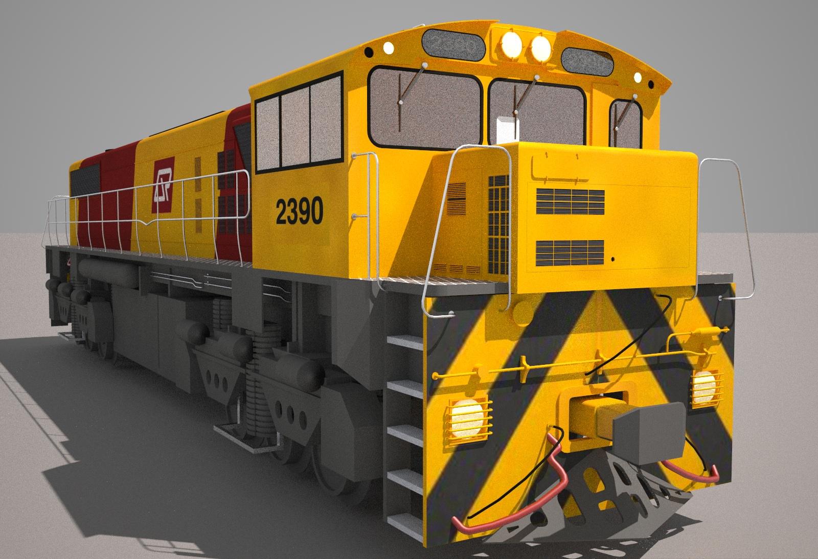 ... qr freight train class 2390 3d model obj mtl 3ds fbx hrc xsi dae skp 4  ...