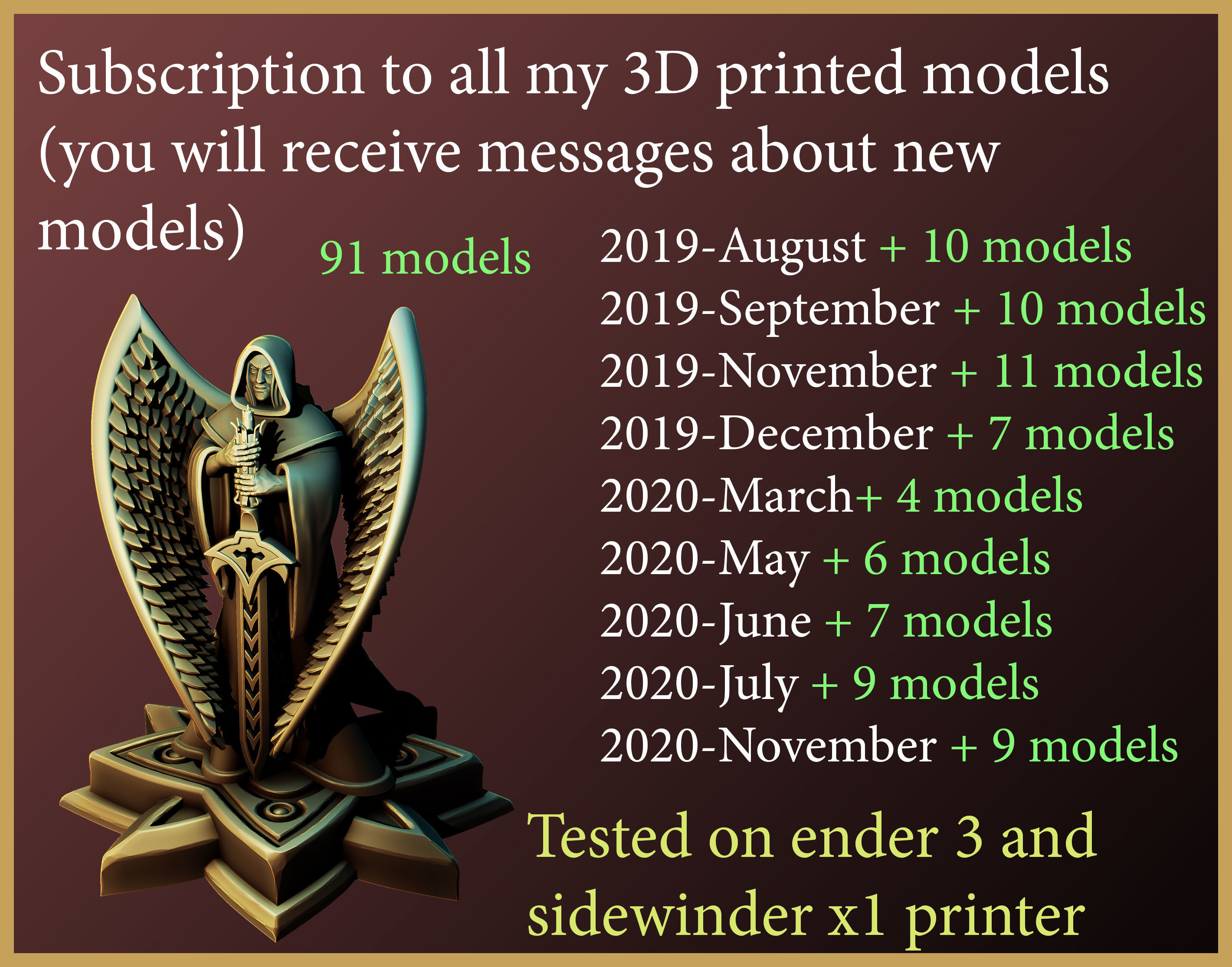 lifetime subscription to all my 3dprint models