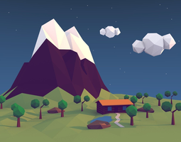 low-poly low poly island 3d model