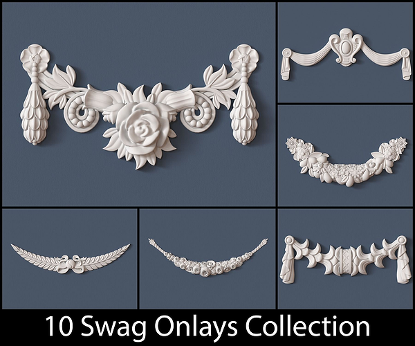 10 swag onlays collection 3d model obj pdf 1