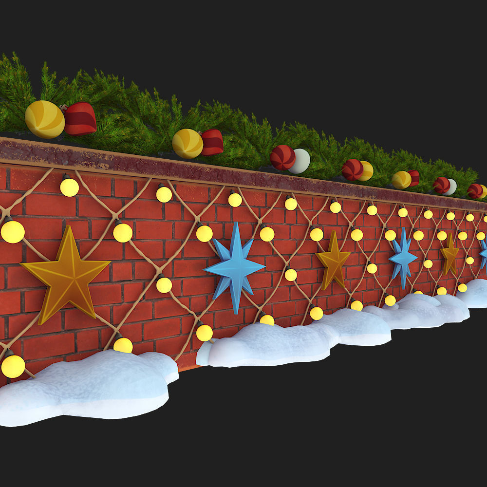 wall with christmas decorations