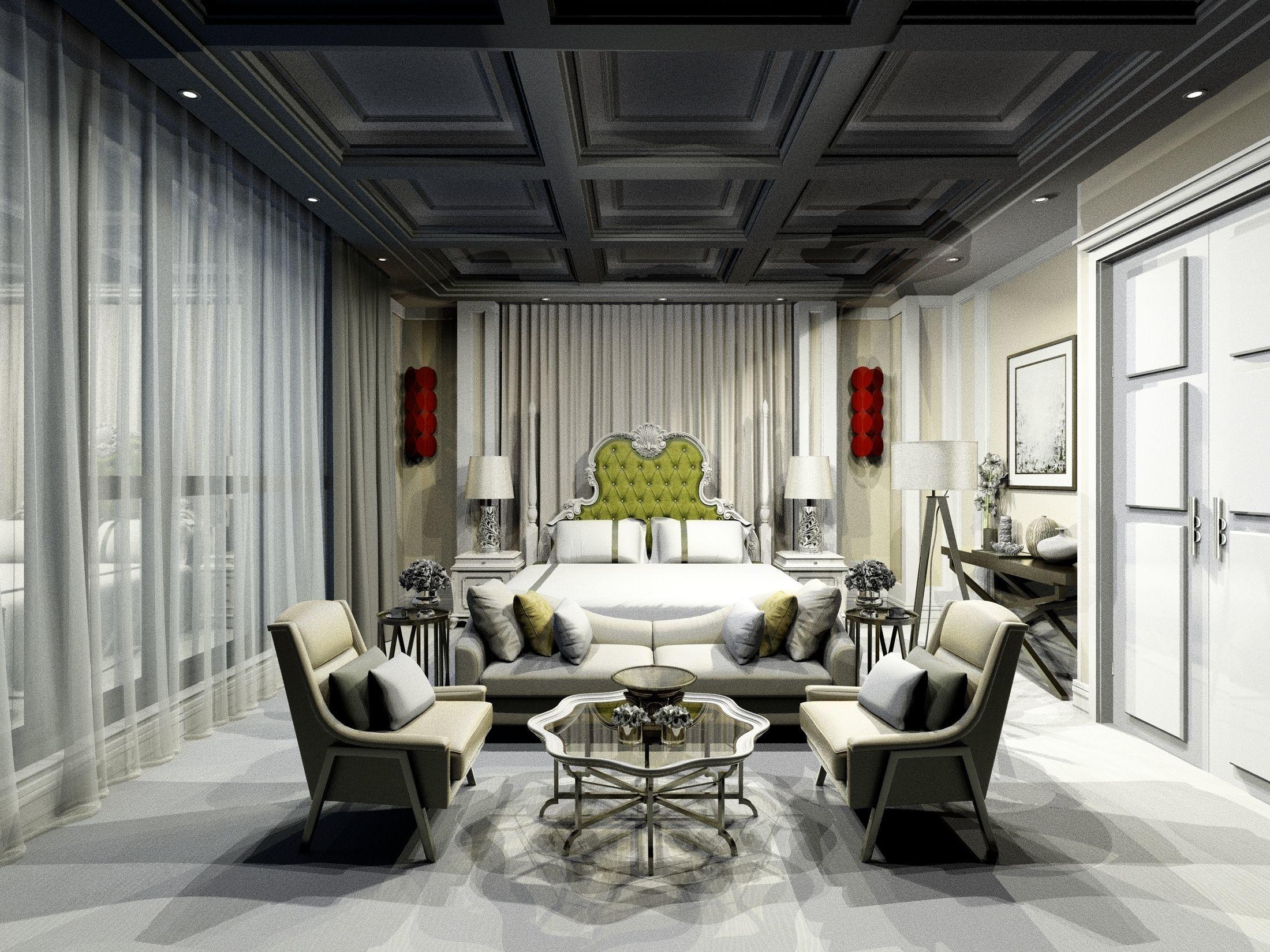 Luxury modern white Bohemian bedroom design 3D model on Model Bedroom Design  id=81748