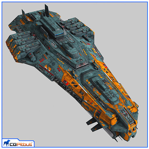 lowpoly starship cruiser v2 3d model max obj mtl fbx 1