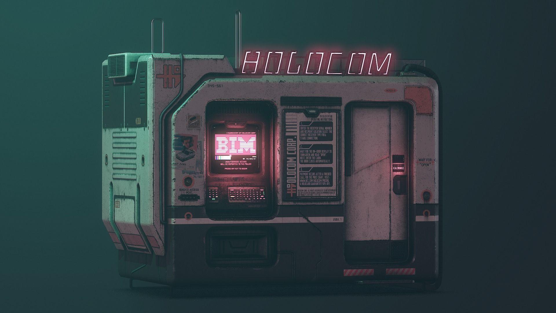Cyberpunk Holocom Booth