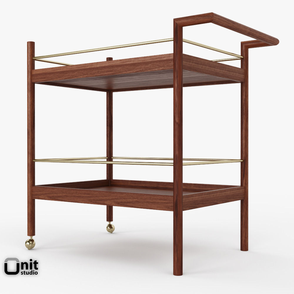Mid Century Bar Cart By West Elm Model Max Obj S Fbx Unitypackage