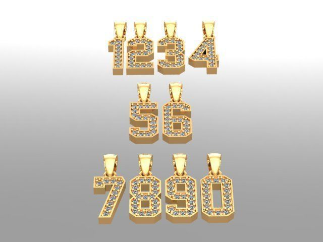 numbers pendant  gold silver diamond lucky number