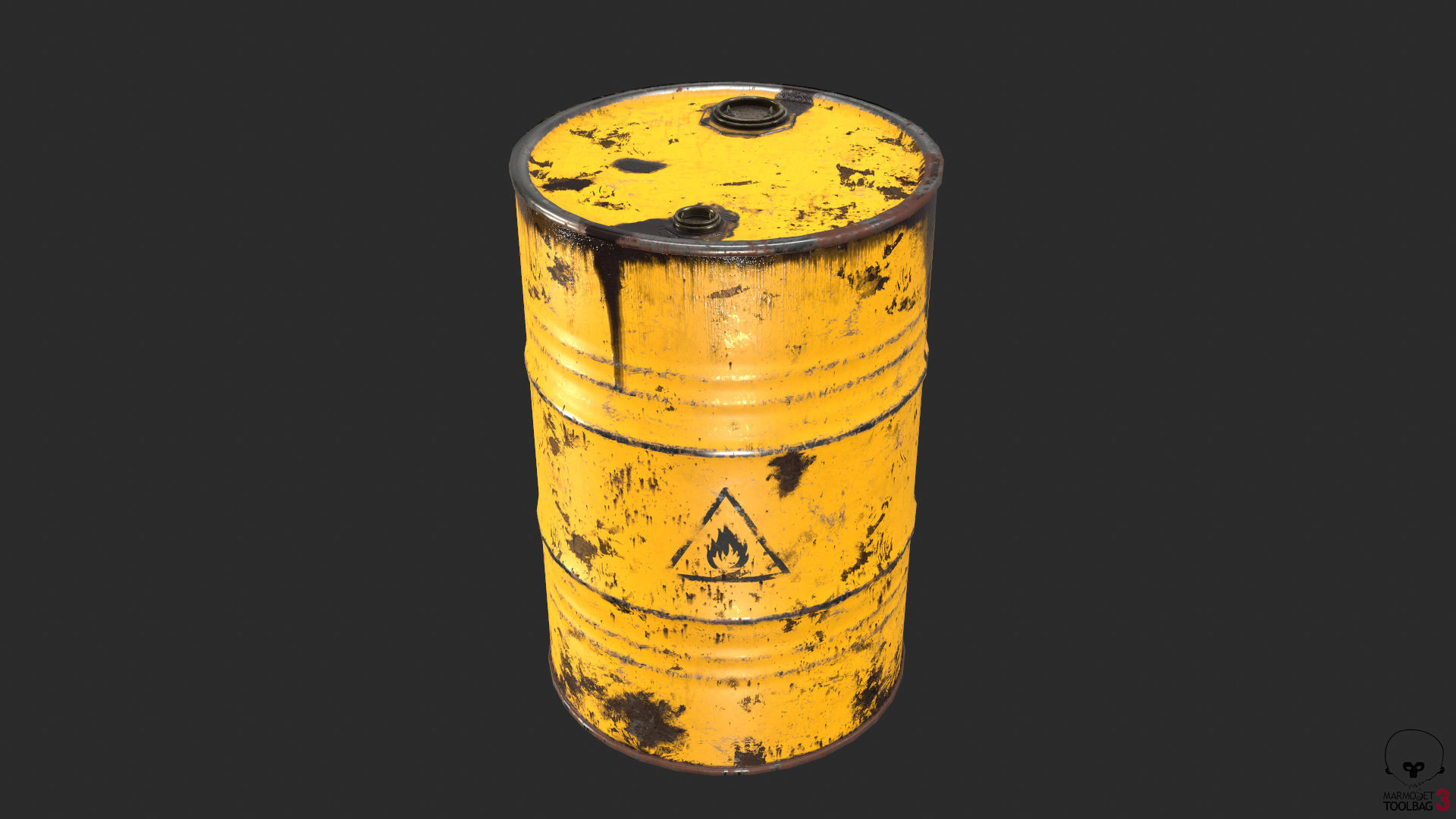 Old Rusty Oil Drum with oil leakage Game Ready