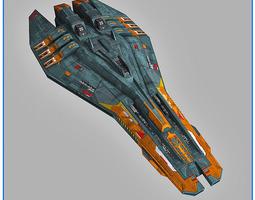realtime lowpoly starship escort 3d model