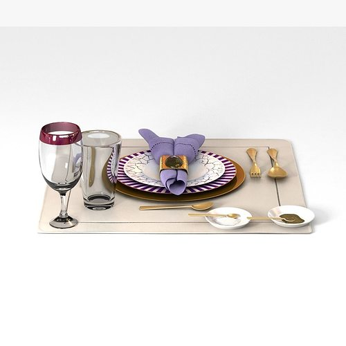 dinnerware table set 3d model max obj mtl 3ds fbx 1