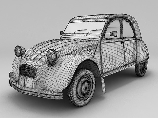citroen 2cv yellow 3d model max obj fbx lwo lw lws