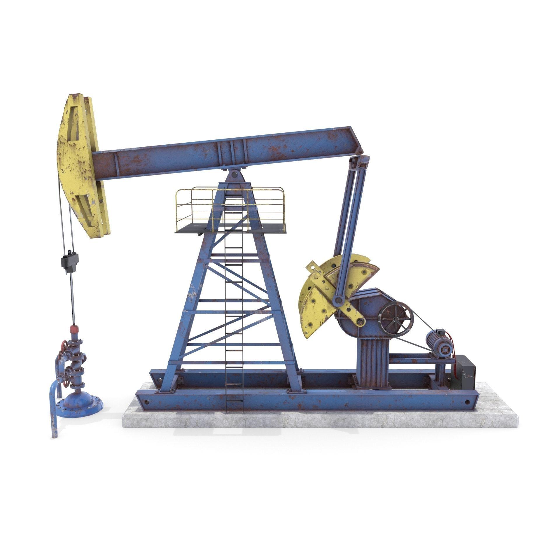 Oil Pumpjack Animated Weathered 1