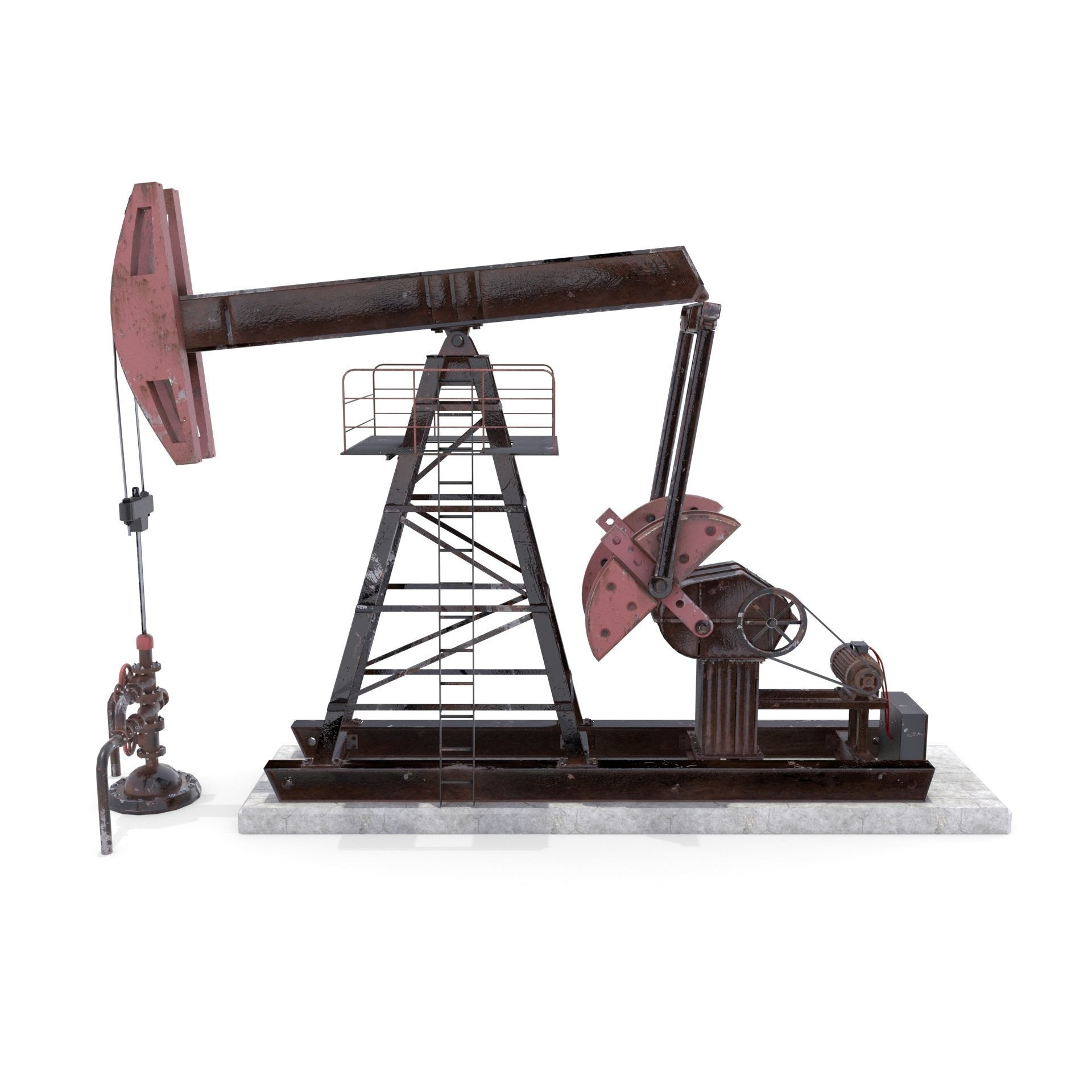 Oil Pumpjack Animated Weathered 2