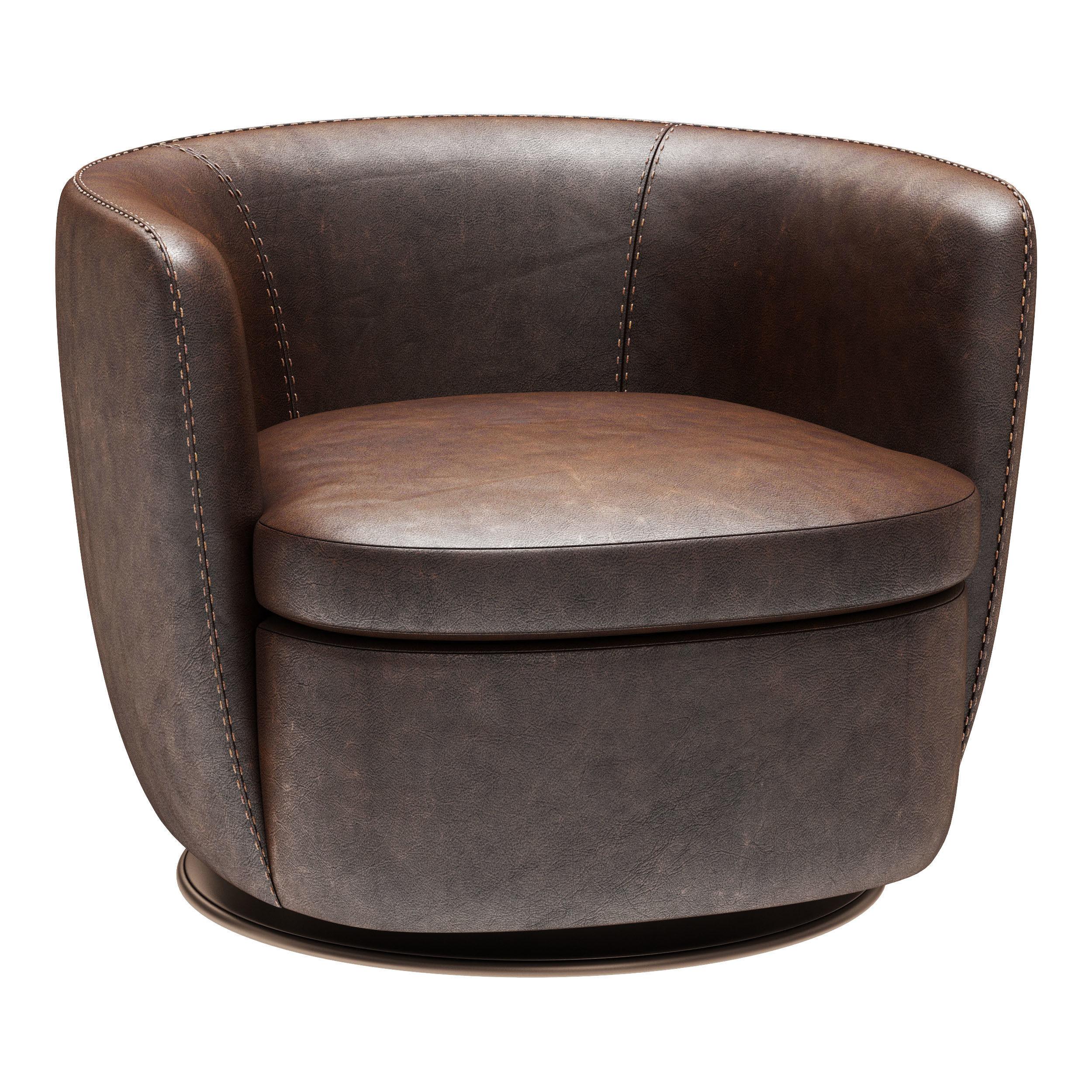 Restoration Hardware Klein Leather Swivel Chair