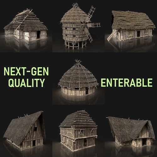 Next Gen AAA Medieval Village Collection - 7 Enterable Buildings