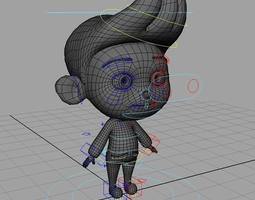 3d model little boy rig rigged