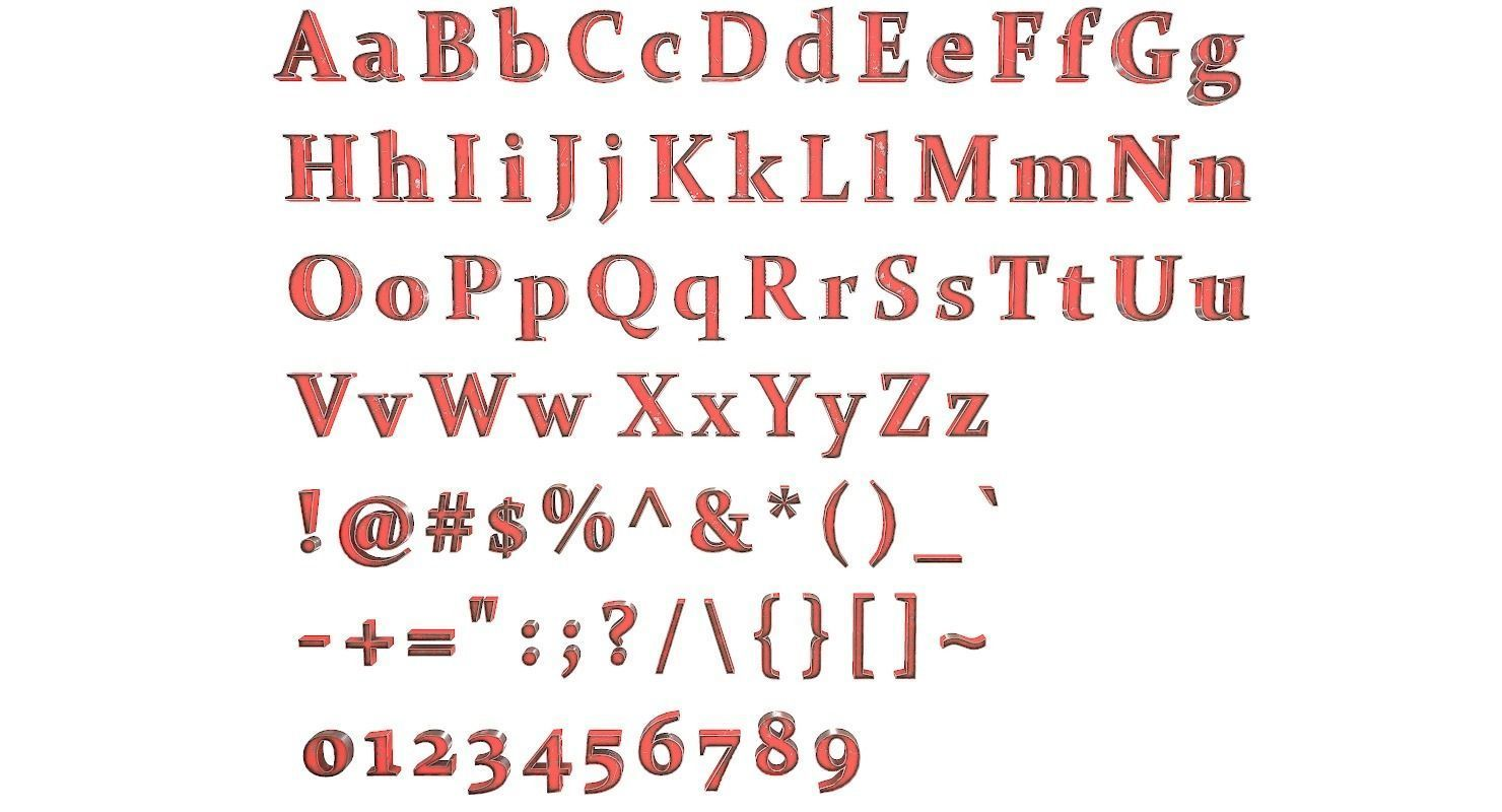 English Letters - Steel Red