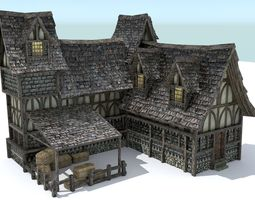 3D asset VR / AR ready Medieval Town House