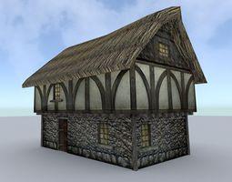 low-poly medieval farm house 1 3d model