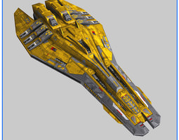 game-ready 3d model lowpoly starship escort v2