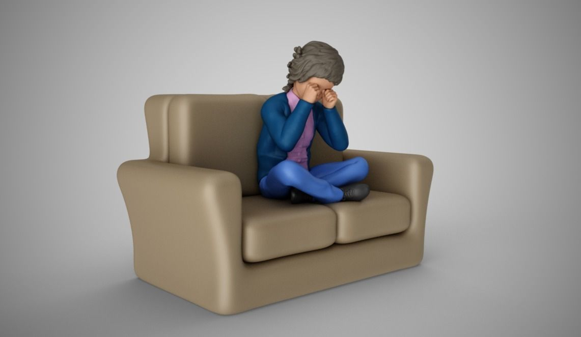 Cute Child Crying on Sofa