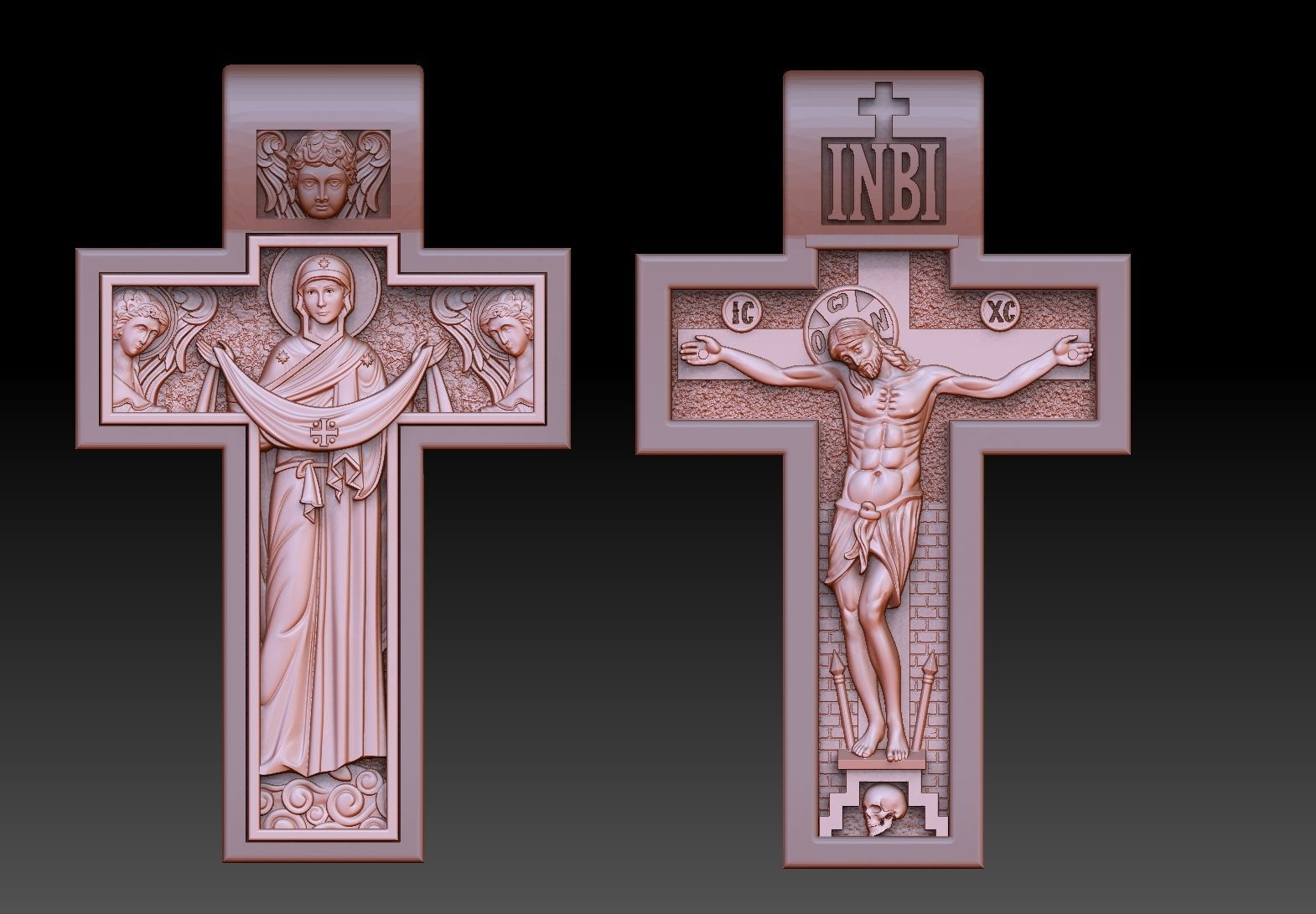 orthodox  cross crucified and virgin mary jewelry