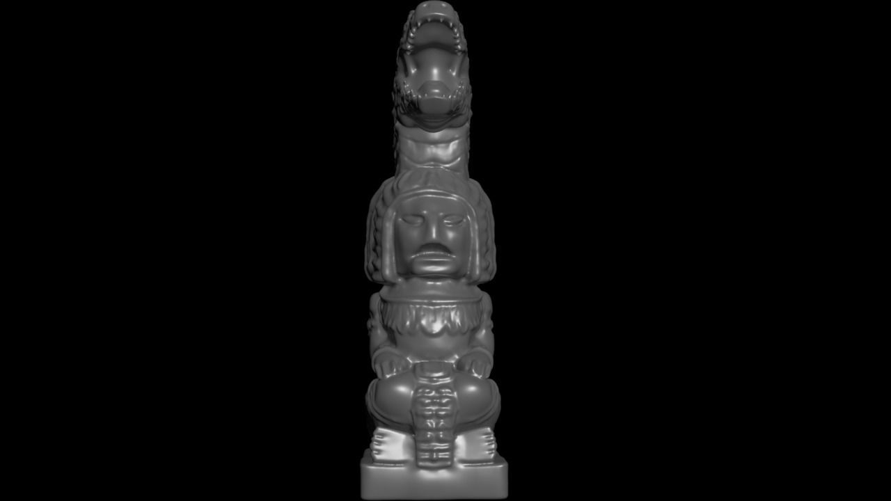 Mayan statue with crocodile head stl