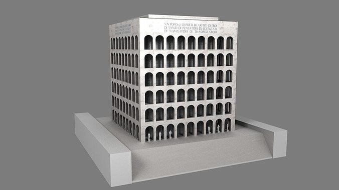 palazzo della civilta  italiana - square colosseum  3d model low-poly max obj mtl 3ds fbx ma mb stl 1