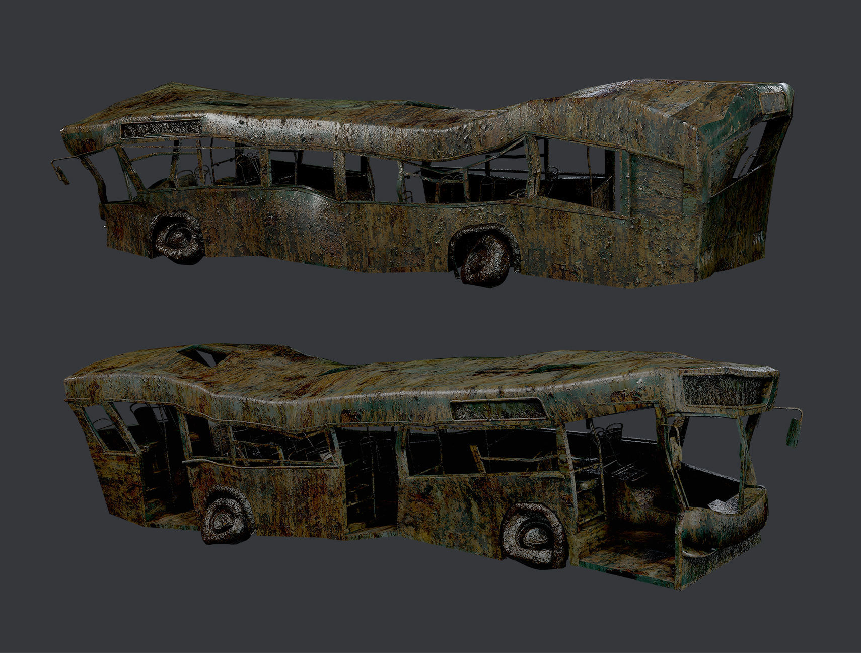 Apocalyptic Damaged Destroyed Vehicle Bus Game Ready 10