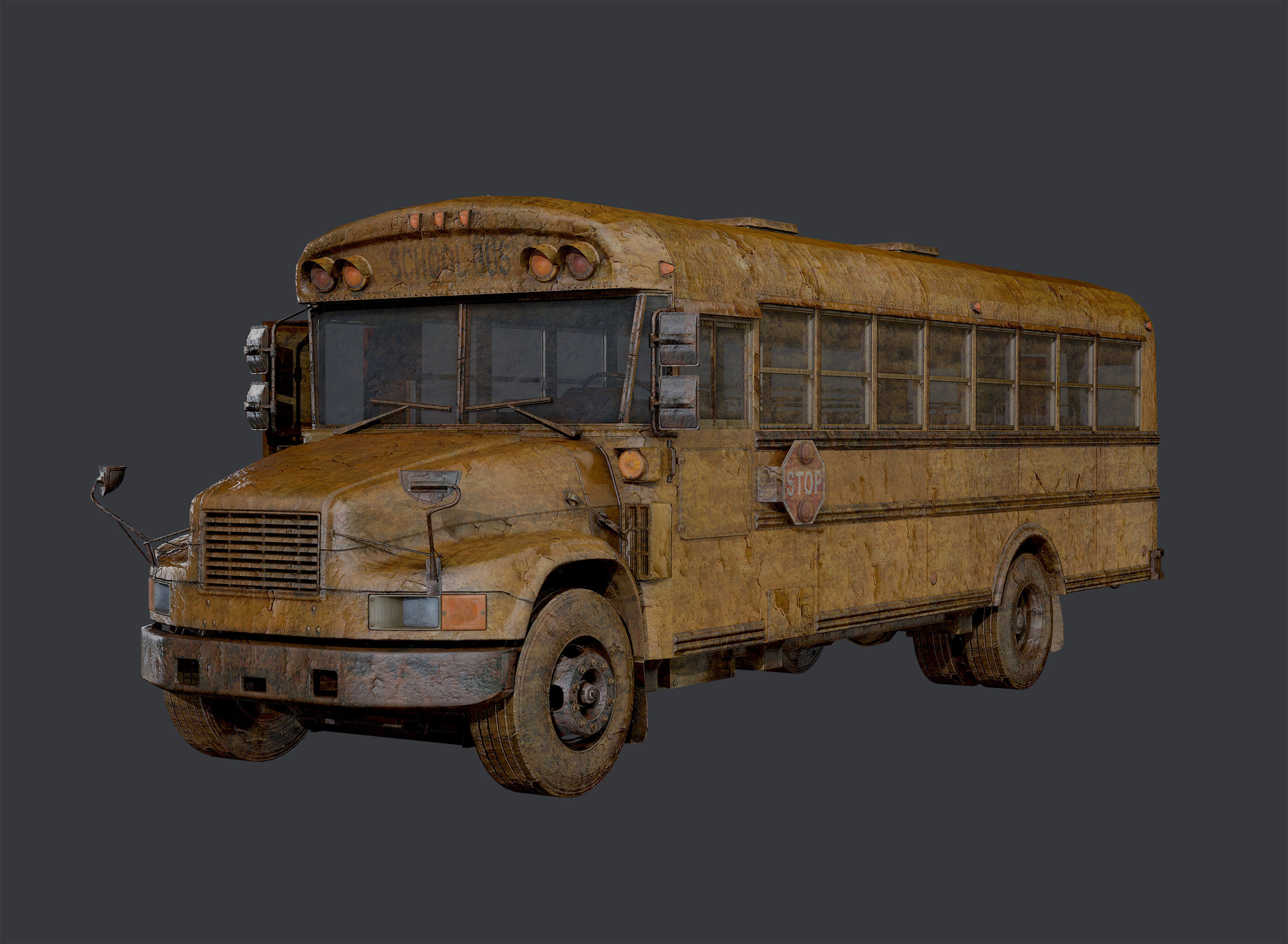 Apocalyptic Damaged Destroyed Vehicle School Bus Game Ready