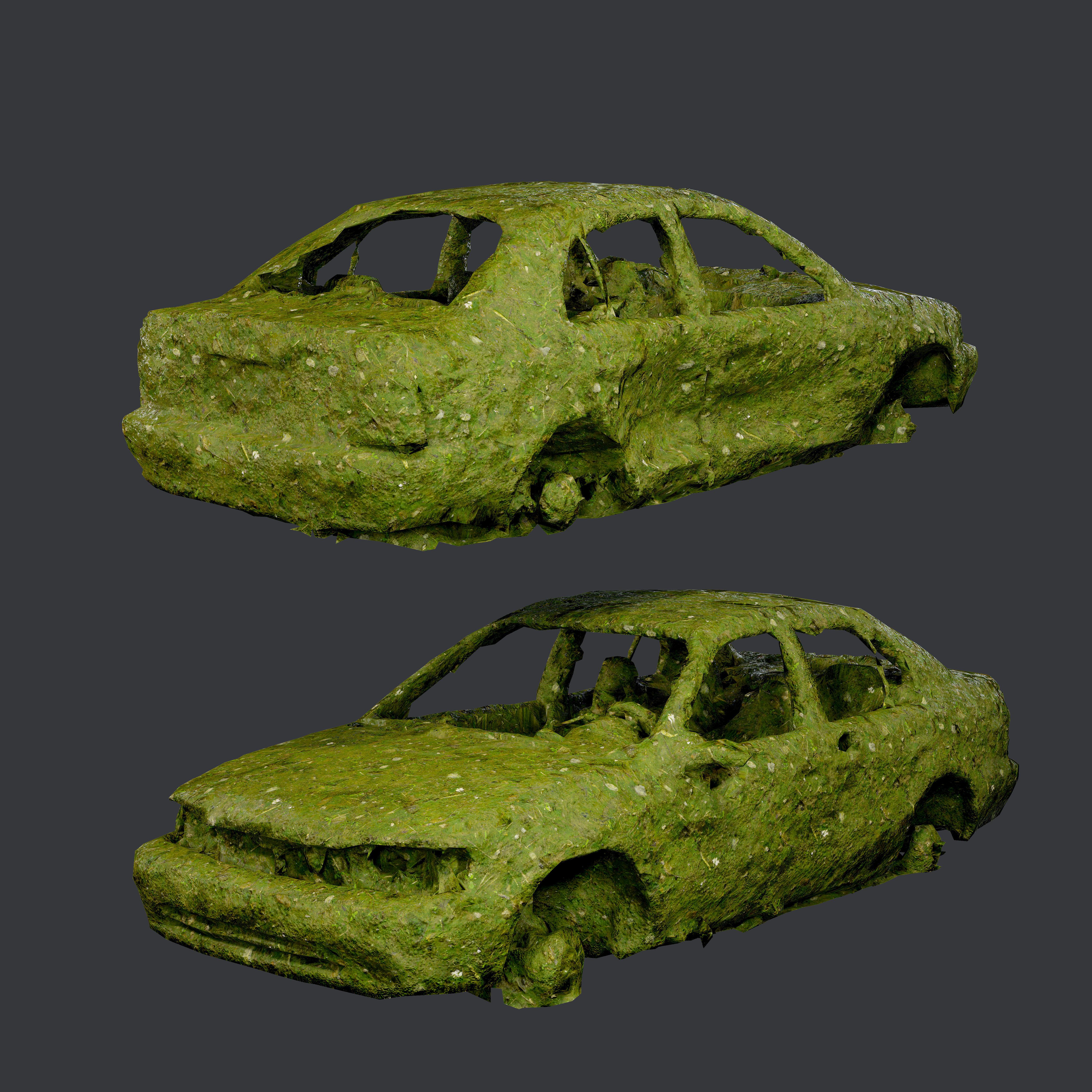 Apocalyptic Damaged Destroyed Vehicle Car Game Ready 06