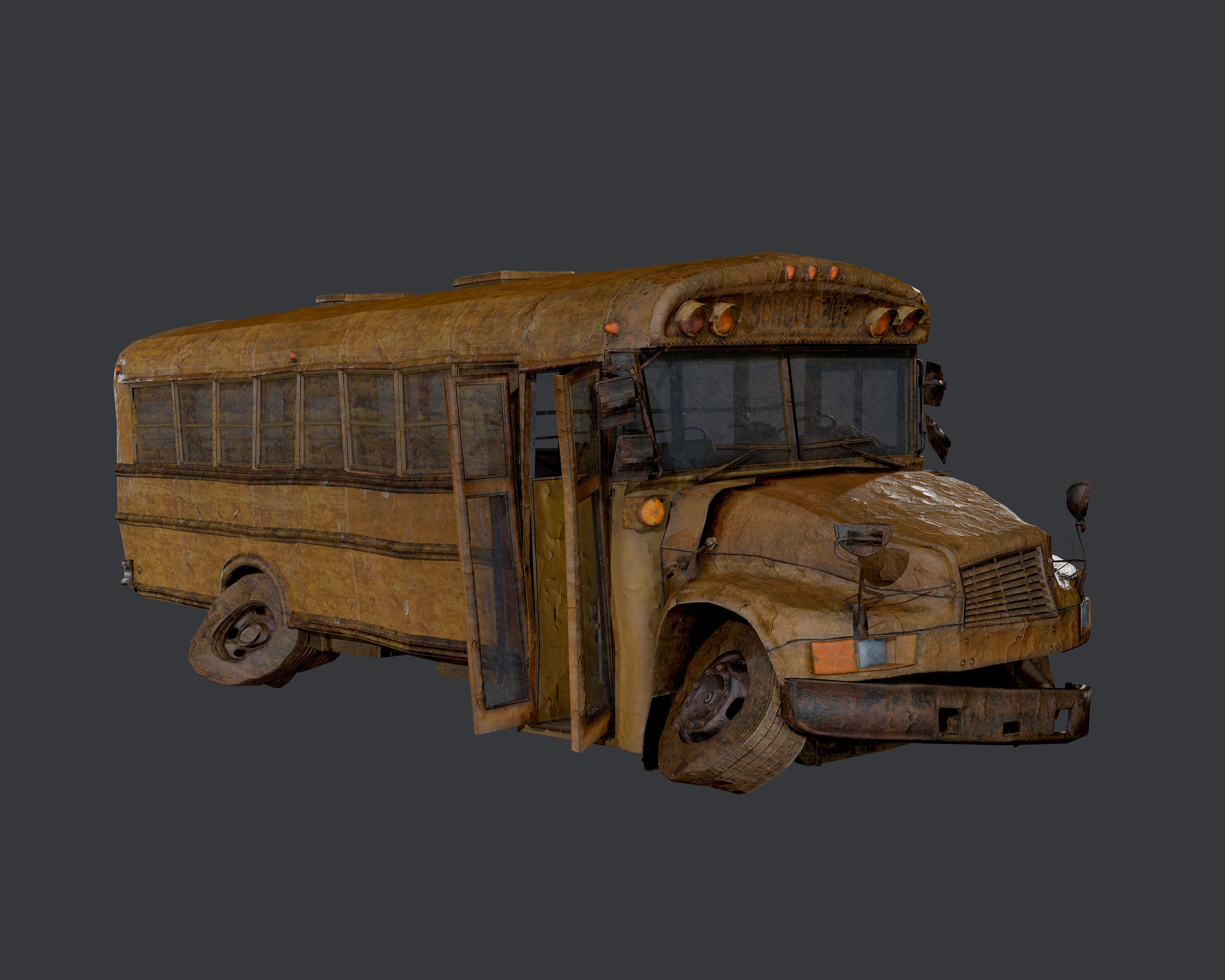 Apocalyptic Damaged Destroyed Vehicle School Bus Game Ready 03