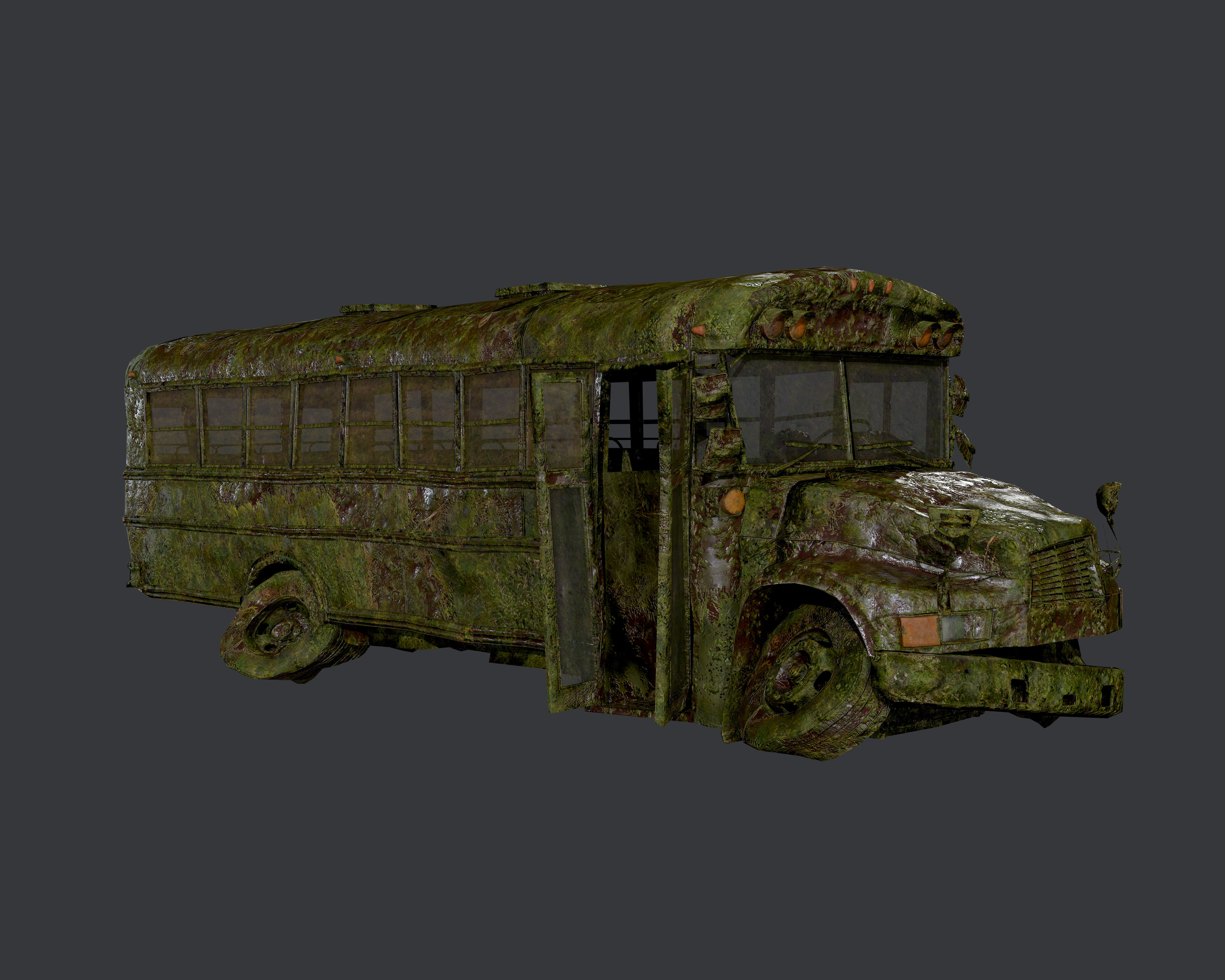 Apocalyptic Damaged Destroyed Vehicle School Bus Game Ready 05