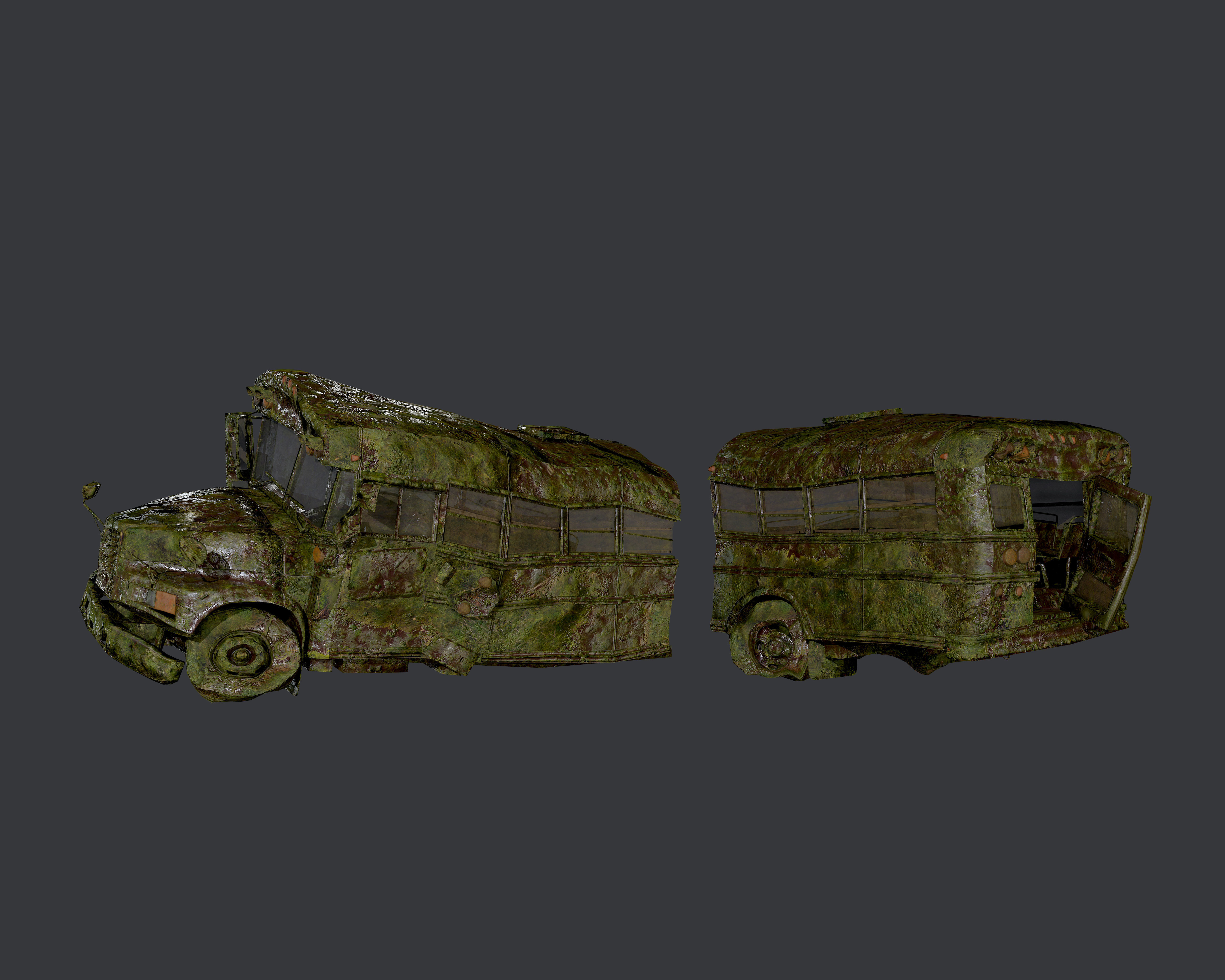 Apocalyptic Damaged Destroyed Vehicle School Bus Game Ready 06